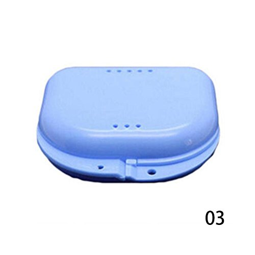 Price comparison product image Niome 1pcs Dental Orthodontic Retainer Mouthguard Dentures Storage Case Box False Teeth Holder Blue