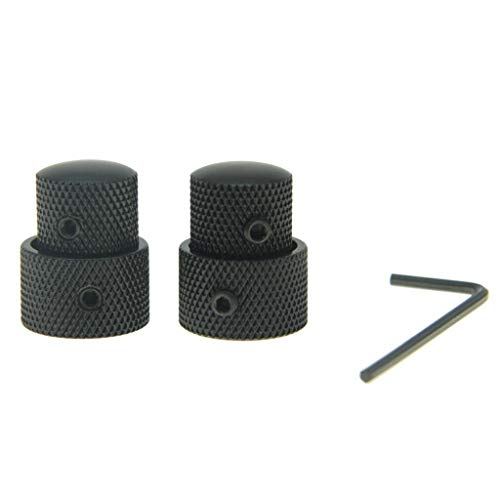 KAISH Pack of 2 Metal Dual Concentric Stacked Control Knobs Guitar Bass Parts for Electric Guitar Bass Black