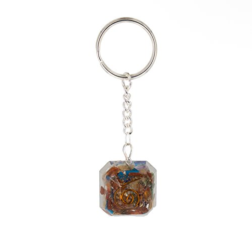 Piezo Orgonite Keychain with 7 Types of Bionized Crystals for Each Chakra - Tested Cell Phone Radiation Shield EMF Protection Device -Negative Energy Transformer