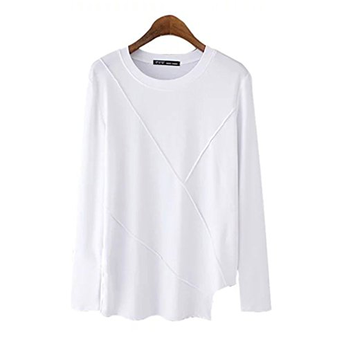 Star Fashion O-Neck Long Sleeve White Tees Women Casual Tops-S