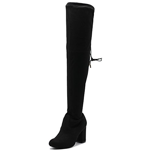 Stretch Suede Knee Boot (Ollio Women Shoe Drawstring Stretch Faux Suede Over The Knee Stacked Heel Long Boots TWB06(8 B(M) US, Black))