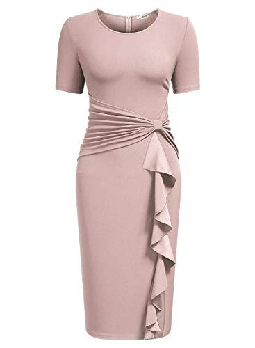 AISIZE Women 1950s Vintage Ruffle Cocktail Knee Dress XX-Larege Pink]()