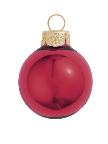 40ct Shiny Burgundy Red Glass Ball Christmas Ornaments 1.25