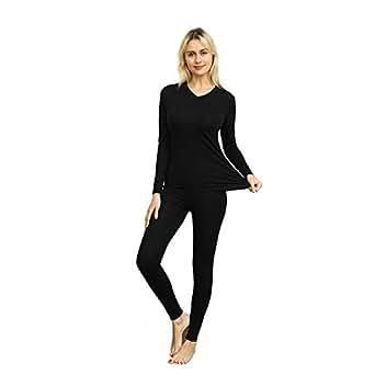 VIPEX Women's Ultra Soft Thermal Underwear Long Johns Base Layer Set Black