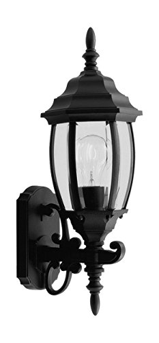 Black 1 Light 100W up Lighting Wall Sconce with Medium Bulb Base and Clear Beveled Glass from Kingston Series Black Kingston Wall Lantern