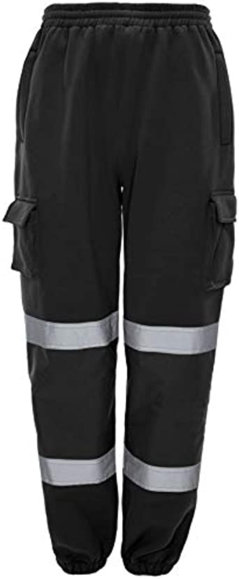 Hi Vis Viz Trouser High Visibility Band Bottom Work Fleece Safety Pants Big Size