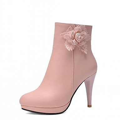 Booties For 4U Novelty Round Comfort Fall Flower Heel Boots amp; Bootie Women's Office Best almond Ankle Winter Casual Toe Stiletto Shoes Leatherette Boots 6wxWdAU