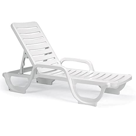 Bahia Contract Grade Resin Chaise Lounge, White Color