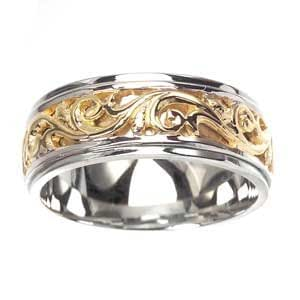 Men's 14k Two Toned Gold Elaborate Engraved Carved Wedding