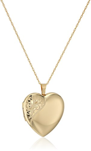 - 14k Gold-Filled Large Satin and Polished Finish Hand Engraved Heart Shaped Locket Necklace, 30