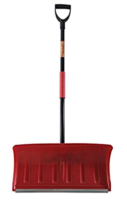 Superio 440 Heavy Duty Pusher Snow Shovel with Metal Strip (22 Inch), One Size Red