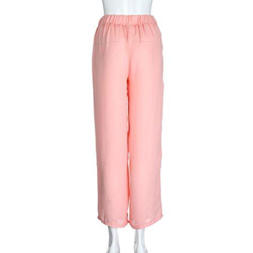 Mousseline De Droite Leg LaChe Droite Taille Large Unie Rose Pantalons Pantalon Jambes Femmes Casual WINWINTOM Couleur Sexy Soie Long Larges Pantalon pW4fcc