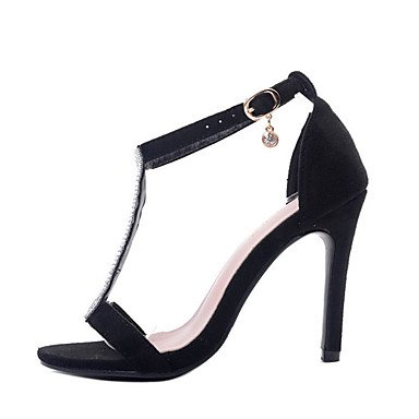 LvYuan Mujer Sandalias Vellón Verano Pedrería Tacón Stiletto Negro Almendra 10 - 12 cms Black