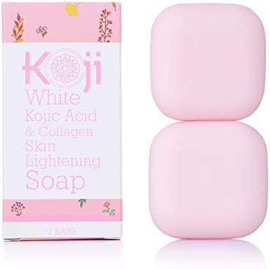 Kojic Acid & Collagen Skin Lightening Soap (2.82 oz / 2 Bars) – Natural Skin Brightening For Even Complexion – Moisturizes, Reduces Acne Scars & Wrinkles, Fades Dark Or Red Spots & Freckles