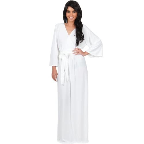 981eec602f66 new KOH KOH Womens Long Sleeve Kimono V-neck Wrap Solid Winter Fall Gown  Maxi