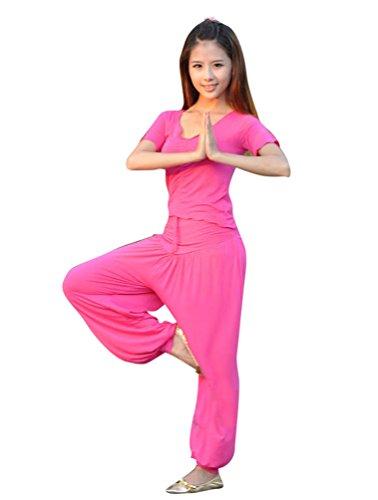 ZhiYuanAN Mujer 2Pcs Tops & Pololos Traje de Danza Del Vientre Traje Ropa De Yoga Rose