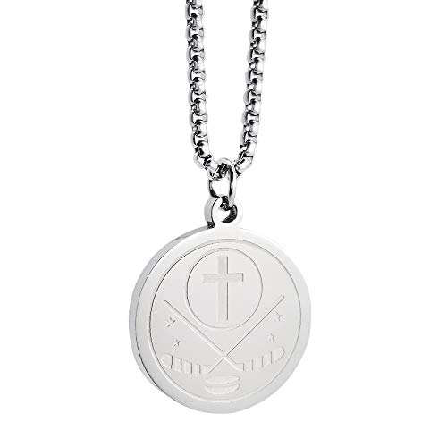 Silver Puck Pendant Bible Verse Stainless Steel Jewelry I CAN DO All Things Bible Verse Pendant Cross Chain with Chain