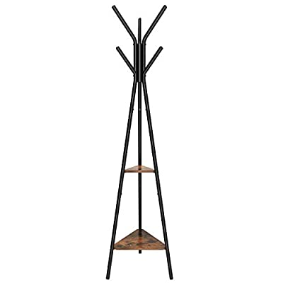 SONGMICS Coat Rack Stand, Coat Tree, Hall Tree Free Standing, Industrial Style, with 2 Shelves, for Clothes, Hat, Bag, Black, Vintage URCR16BX - SONGMICS ORIGINAL: This product is under patent pending status. SONGMICS designed coat tree, deserves your love. Slightly rustic and stunningly simplistic, this eye-catching piece will give your home a brilliant update STABILITY FIRST: Crafted of a metal frame and thick fiberboard, the coat tree features superior durability and stability; triangular base for added stability; each hook holds up to 11 lbs, each shelf 22 lbs VINTAGE SHELVES FOR EXTRA STORAGE: Two triangular shelves with a vintage style are icing on the cake to the rack while offering extra storage space; you can add a potted plant to bring it all to life - entryway-furniture-decor, entryway-laundry-room, coat-racks - 316WScjU0dL. SS400  -
