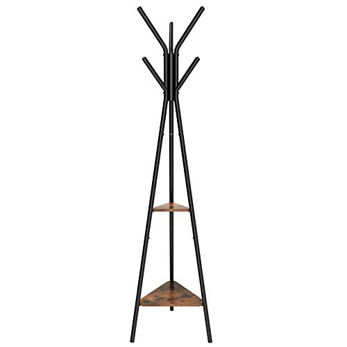SONGMICS Coat Rack Stand, Coat Tree, Hall Tree Free Standing, Industrial Style, with 2 Shelves, for Clothes, Hat, Bag, Black, Vintage -