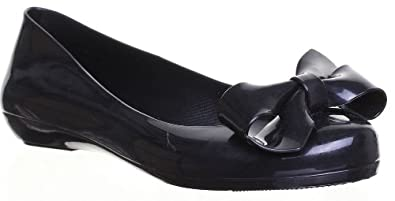 d23bcefc51538 Image Unavailable. Image not available for. Colour  SV - Mel By Mellisa  Strawberry Pumps Womens Flat Sole Bow Rubber Shoes - Black