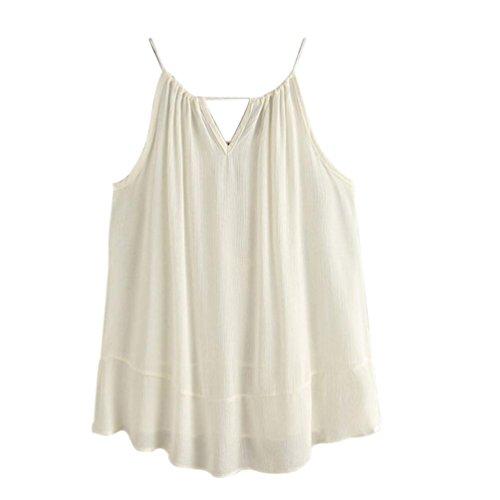 Top femme été 2017, Kolylong Tasselled Drawstring Neck Chemise brodée Cami Top Blouse Débardeur T-shirt blanc