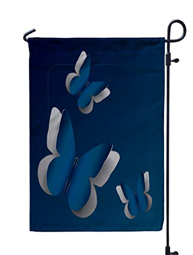 GROOTEY Welcome Outdoor Garden Flag Home Yard Decorative 12X18 Inches Butterflies Carved from Pale Navy Blue Paper Background Cut Double Sided Seasonal Garden Flags (Carved Intaglio)