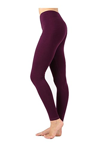 Zenana Outfitters JKC USA Selected Premium Cotton Full Length Solid Color Leggings OP-1851,Small,Dark Plum (Plum Navy)