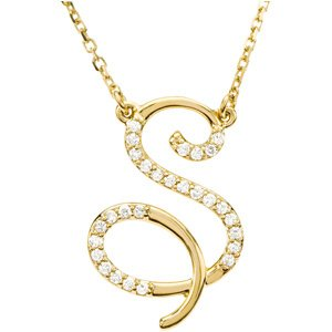 14k yellow gold alphabet initial letter s diamond necklace 17 gh color