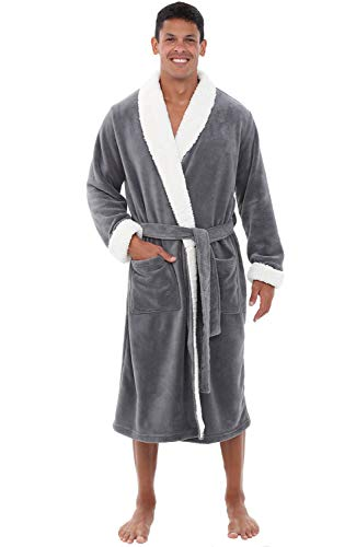 Dog Coat Plush - Alexander Del Rossa Men's Warm Fleece Robe, Plush Bathrobe, 1XL 2XL Steel Grey with Sherpa Accents (A0261STL2X)