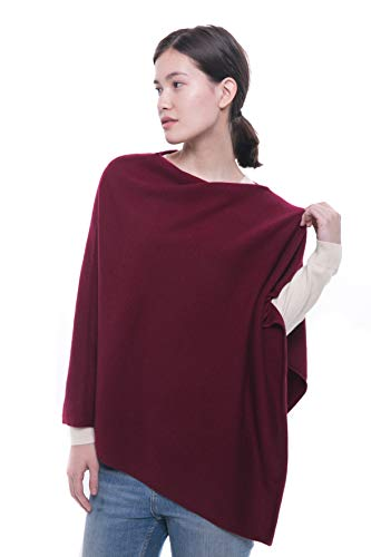 Dress Cashmere Womens (100% Pure Cashmere Poncho - Women's Draped Poncho, Cape and Dress Topper by Goyo Cashmere (Persian Plum))