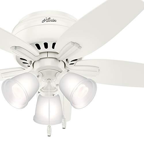 Hunter Fan 42 inch Fresh White Finish Flush Mount Ceiling Fan with 3 Light Fitter (Renewed)