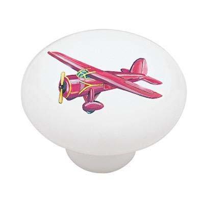 Plane Knob Drawer (Red Biplane Ceramic Drawer Knob)