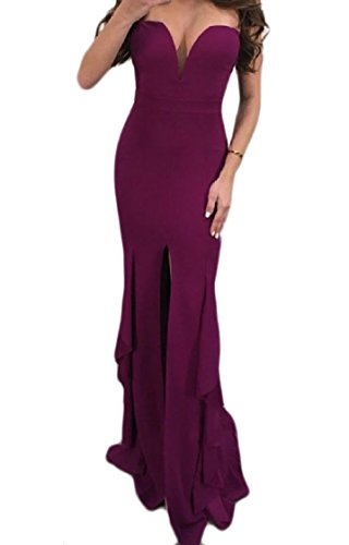 Coolred Backless Lungo donne Spaccatura Fucsia Sexy Senza Spalline Tubo Falbala Vestito OOrn5AxTw