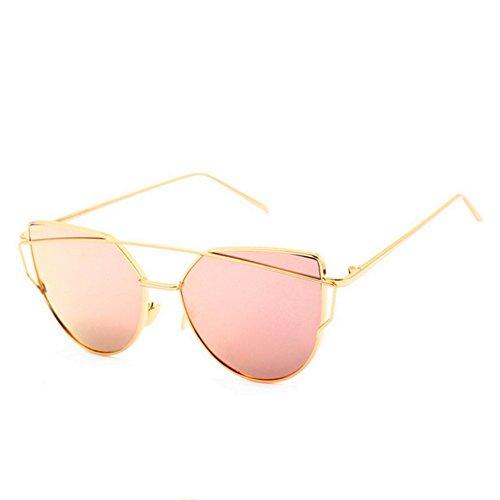 HaiBote Fashion Women Cat Eye Sunglasses Coating Mirror Lens Sun glasses - Eyeglass Face Best Oblong For Shape