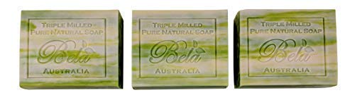 Bela Pure Natural Soap, 100% Natural Triple Milled Soap, Made in Australia with Shea Butter and Organic Coconut Oil, 3.5 oz Bars - 3 Pack (Olive Oil with Cocoa Butter)