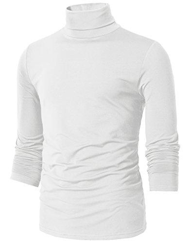 H2H Mens Basic Slim Fit Turtleneck Knit Sweater White US L/Asia XL (CMTTL098)