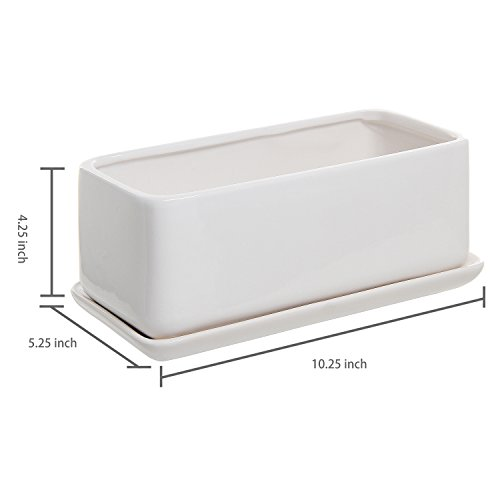 10 Inch Rectangular Modern Minimalist White Ceramic