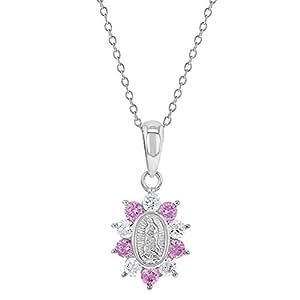 4a79eba64e78 Medalla de plata de ley 925 con colgante de circonita cúbica de color rosa  claro