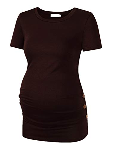 Coolmee Maternity Shirt Side Button and Ruched Maternity Tunic Tops Maternity Short Sleeve T-Shirts (S,Coffee)