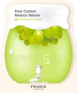 FRUDIA Green Grape Pore Control Mask 1's -Instantaneous Cooling and Calming Effects to The Skin for The Benefits of Pore Reduction and Skin Firming