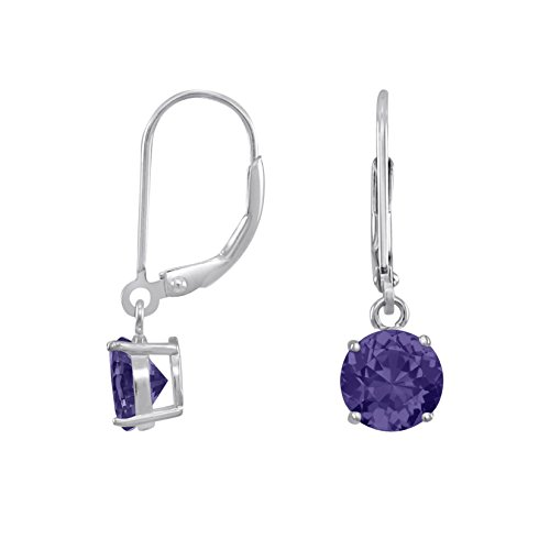 Leverback Purple Earrings (Rhodium Plated Sterling Silver Basket Setting 6mm Brilliant Round Purple CZ Leverback Dangle Earrings)