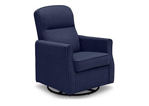 Upholstery Motion Fabric Sofa - Delta Children Clair Slim Nursery Glider Swivel Rocker Chair, Navy
