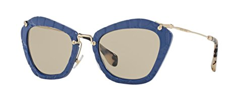 Miu Miu MU10NS USZ5J2 Blue / Gold / Tortoise Noir Cats Eyes Sunglasses Lens - Noir Miu Miu Sunglasses