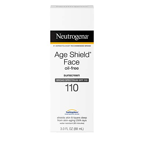 Neutrogena Age Shield Face Lotion Sunscreen with Broad Spectrum SPF 110, Oil-Free & Non-Comedogenic Moisturizing Sunscreen to Prevent Signs of Aging, 3 Fl. Oz (Pack of 1) from Neutrogena