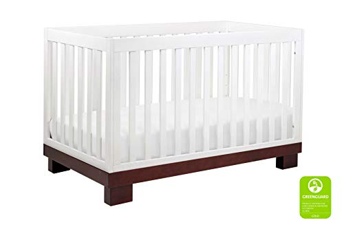 Babyletto Modo 3-in-1 Convertible Crib with Toddler Bed Conversion Kit, Espresso / White (4 In 1 Convertible Crib With Toddler Rail)
