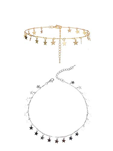 Sophie Land (2 Pieces Silver and Golden Lucky Star Choker Necklace Pendant Disc Chain Statement Necklace for Women ()