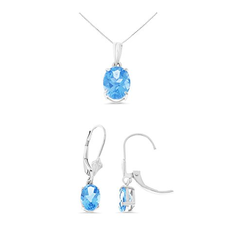 14K White Gold Oval Genuine Natural Blue Topaz Leverback Earrings + Pendant With Square Rolo Chain