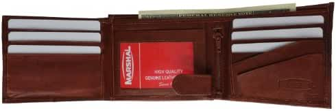 Marshal Wallet Genuine Leather Men's Bifold Wallet Button Snap Flap Out