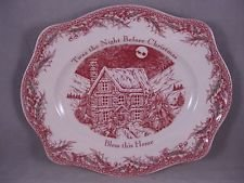 (Johnson Brothers Christmas Twas Night Oval Bread Platter Tray Bless This House 11 3/4