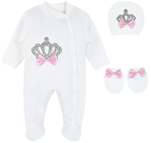 Eda Baby Girl Jeweled Crown Layette 3 Piece Gift Set 0-3M Sparkle Crown